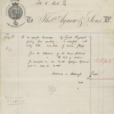 Thos. Agnew and Sons Ltd. Invoice, September 1901