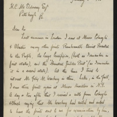 Letter from William M. Ivins Jr. to H.C. McEldowney, 8 January 1920 [page 1 of 2]