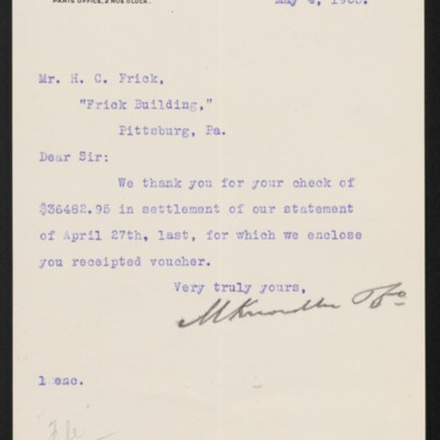 Letter from M. Knoedler & Co. to Henry Clay Frick, 4 May 1903