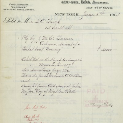 M. Knoedler & Co. Invoice, 8 June 1914