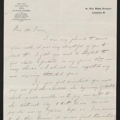 Letter from Charles S. Carstairs to [Henry Clay] Frick, 14 August 1908 [page 1 of 2]