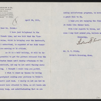 Letter from Roland F. Knoedler to Henry Clay Frick, 28 April 1911
