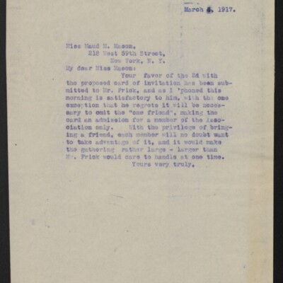 Copy of a letter from [H.C. Frick] to Maud M. Mason, 1 March 1917