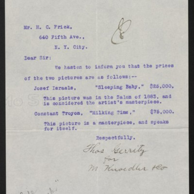Letter from Thomas Gerrity to Henry Clay Frick, 14 October 1905