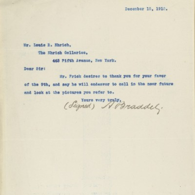 Letter from A. Braddel to Louis R. Ehrich, 15 December 1910