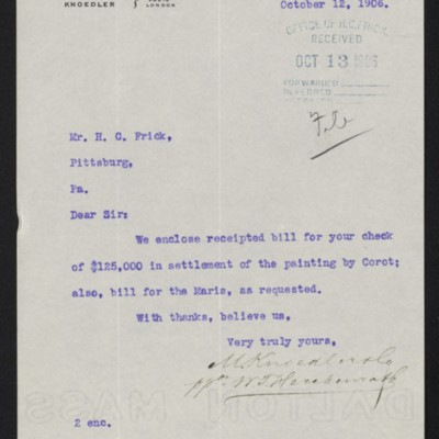 Letter from M. Knoedler & Co. to Henry Clay Frick, 12 October 1906