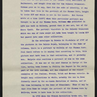 "Information regarding Hobein's ""Sir Thomas More,"" circa August 1912 [page 8 of 10]"
