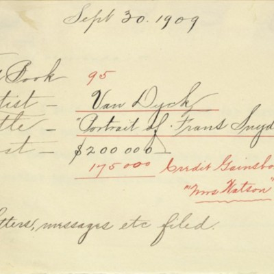 Memorandum prepared by Henry Clay Frick's secretary, 30 September 1909