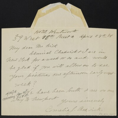 Letter from Cornelia J. Chadwick to Henry C. Frick, 24 April 1918 [front]