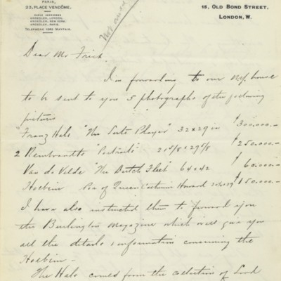 Letter from Charles Carstairs to Henry Clay Frick, 8 July 1910
