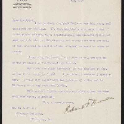 Letter from Roland F. Knoedler to Henry Clay Frick, 5 January 1897