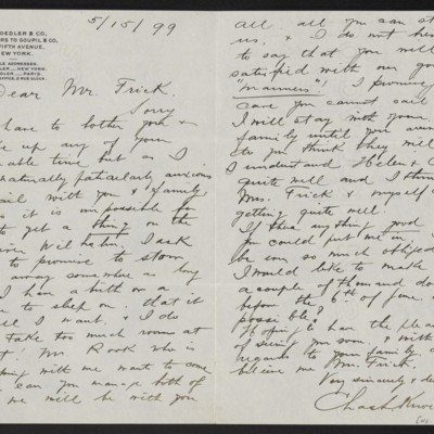 Letter from Charles L. Knoedler to Henry Clay Frick, 15 May 1899