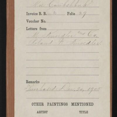 """Red envelope for Raeburn's """"Portrait of Mrs. Cruikshank,"""" 1905"""