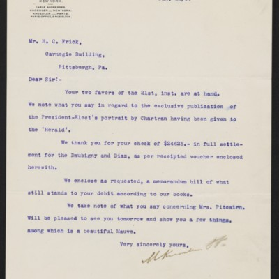 Letter from M. Knoedler & Co. to Henry Clay Frick, 22 January 1897