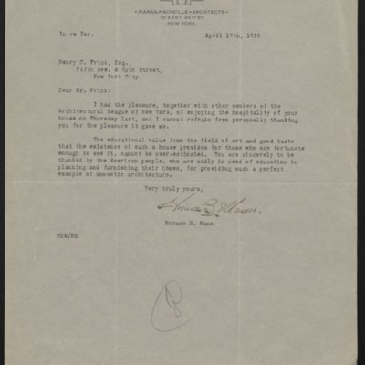 Letter from Horace B. Mann to Henry C. Frick, 17 April 1919