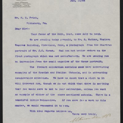 Letter from M. Knoedler & Co. to Henry Clay Frick, 25 January 1898