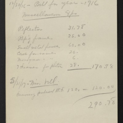 List of expenses incurred through M. Knoedler & Co., circa 1917