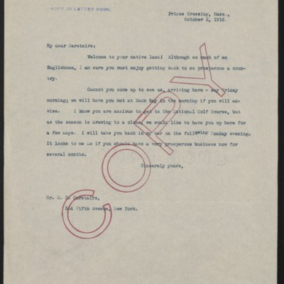 Letter from Henry Clay Frick to Charles S. Carstairs, 2 October 1916