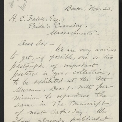 Letter from Wm. Howe Downes to H.C. Frick, 23 November 1910 [page 1 of 3]