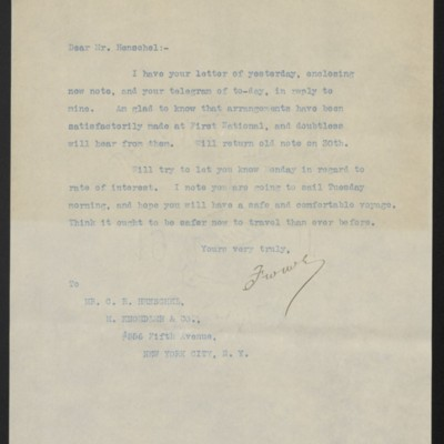 Letter from F.W. McElroy to C.R. Henschel, 27 April 1912