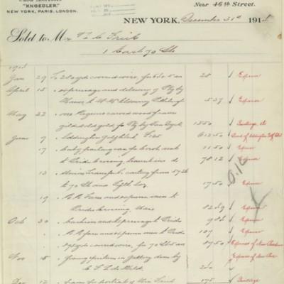 M. Knoedler & Co. Invoice, 31 December 1914