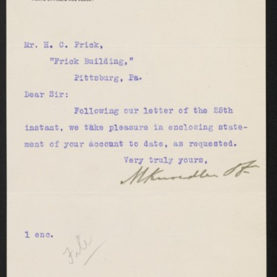Letter from M. Knoedler & Co. to Henry Clay Frick, 30 April 1903