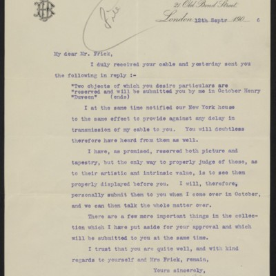 Letter from H.J. Duveen to Henry Clay Frick, 12 September 1906