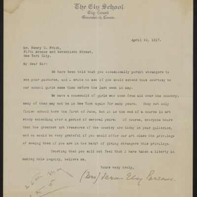 Letter from Sarah Ely Parsons to Henry C. Frick, 10 April 1917
