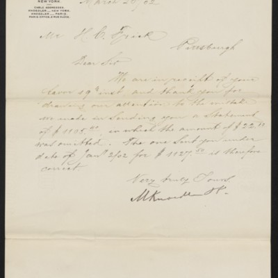 Letter from M. Knoedler & Co. to Henry Clay Frick, 20 March 1902
