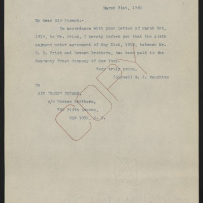 Letter from W.J. Naughton to Joseph Duveen, 31 March 1920
