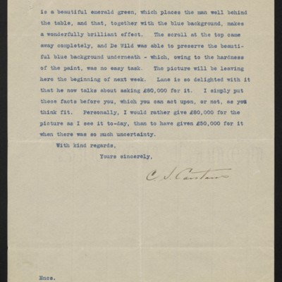 Letter from C.S. Carstairs to H.C. Frick, 16 June 1914 [page 2 of 2]