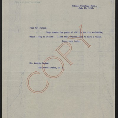 Letter from [Henry Clay Frick] to Joseph Duveen, 11 July 1918
