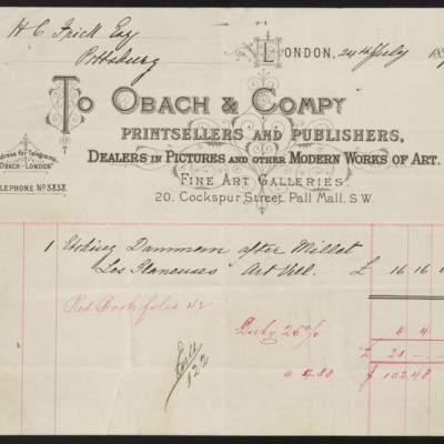 Obach & Co. Invoice, 24 July 1897