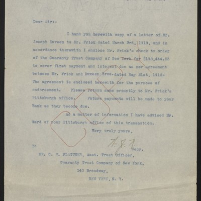 Letter from W.J. Naughton to C.H. Plattner, 30 April 1919