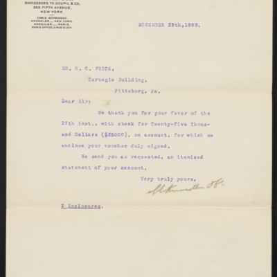 Letter from M. Knoedler & Co. to Henry Clay Frick, 28 November 1899