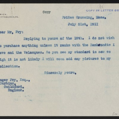 Letter from Henry Clay Frick to Roger E. Fry, 31 July 1911