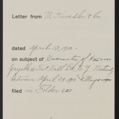 Memorandum, Office of Henry Clay Frick, 13 April 1910