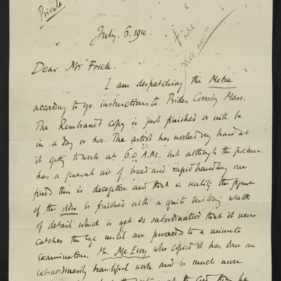 Letter from Roger E. Fry to [Henry Clay] Frick, 6 July 1910