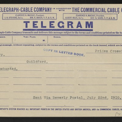 Cable from [Henry Clay Frick] to [Roger E.] Fry, 22 July 1910