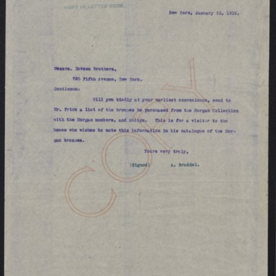 Letter from A. Braddel to Duveen Brothers, 22 January 1919
