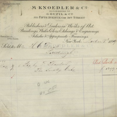 M. Knoedler & Co. Invoice, 8 November 1899