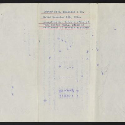 Letter from M. Knoedler & Co. to H.C. Frick, 5 December 1914 [back]