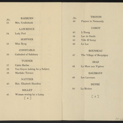 Checklist for Loan Exhibition of Pictures from the Collecton of Henry C. Frick, Museum of Fine Arts, Boston, 1-15 December 1910 [pages 4-5]