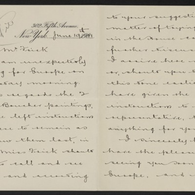 Letter from Joseph Duveen to Henry Clay Frick, 19 June 1911