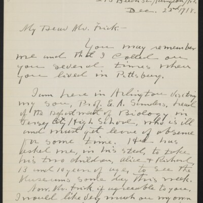 Letter from T.J. Sanders to H.C. Frick, 22 December 1918 [page 1 of 2]