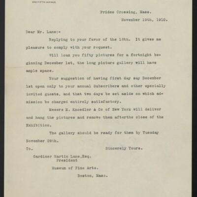 Letter from H.C. Frick to Gardiner Martin Lane, 19 November 1910