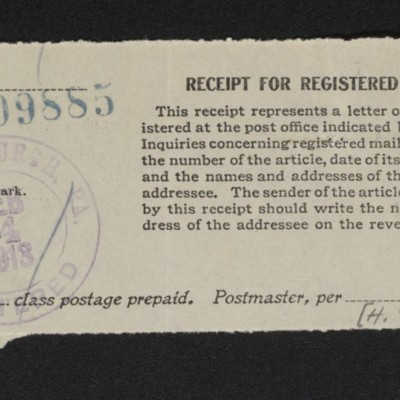 Receipt for registered mail, 24 Feburary 1913 [front]