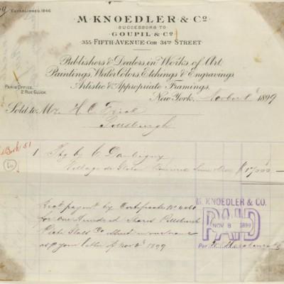 M. Knoedler & Co. Receipt, 8 November 1899