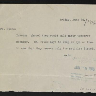 Note from [Alice Braddel] to [Minerva] Stone, 2 June 1916