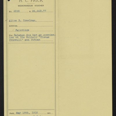 Voucher for commission paid to Alice Creelman for Holbein and Titian paintings, 18 May 1915